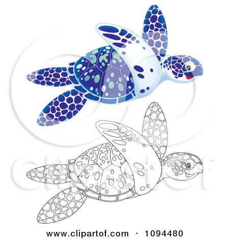 Clipart Outlined And Blue Sea Turtles Swimming - Royalty Free Illustration by Alex Bannykh