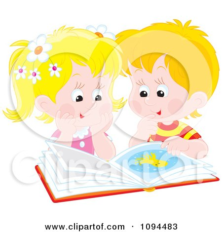 Clipart Boy And Girl Reading A Book About Octopus - Royalty Free Vector Illustration by Alex Bannykh