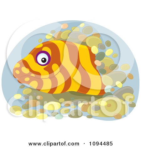 Clipart Happy Eel Emerging From A Hole - Royalty Free Vector Illustration by Alex Bannykh
