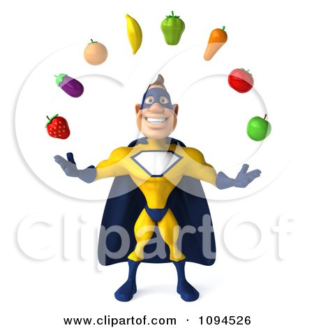 Clipart 3d Male Super Hero Juggling Produce 1 - Royalty Free CGI Illustration by Julos