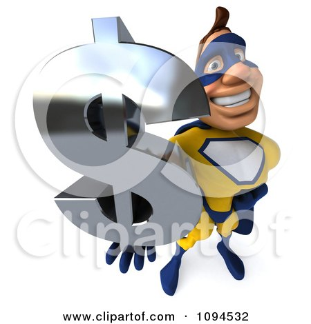 Clipart 3d Male Super Hero Holding A Dollar Symbol 3 - Royalty Free CGI Illustration by Julos