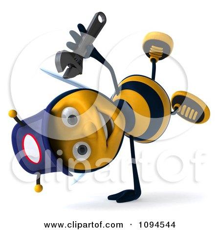 Clipart 3d Mechanic Bee Cartwheeling - Royalty Free CGI Illustration by Julos