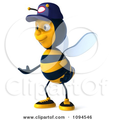 Clipart 3d Mechanic Bee Facing Left - Royalty Free CGI Illustration by Julos