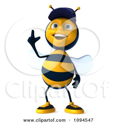 Clipart 3d Mechanic Bee Pointing Up - Royalty Free CGI Illustration by Julos