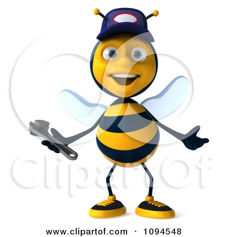Clipart 3d Welcoming Mechanic Bee - Royalty Free CGI Illustration by Julos