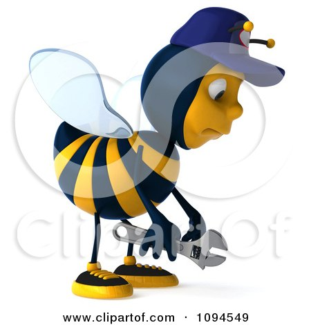 Clipart 3d Mechanic Bee Pouting - Royalty Free CGI Illustration by Julos