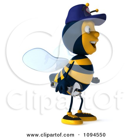 Clipart 3d Mechanic Bee Facing Right 1 - Royalty Free CGI Illustration by Julos