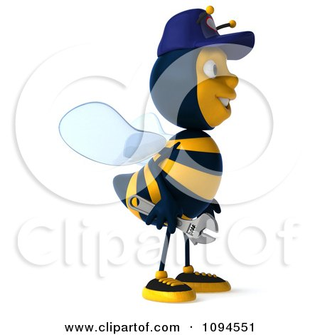 Clipart 3d Mechanic Bee Facing Right 2 - Royalty Free CGI Illustration by Julos