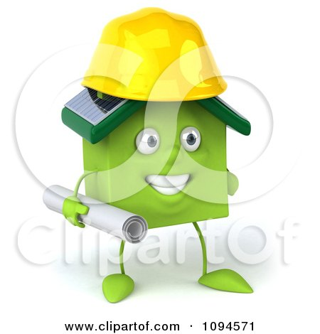Clipart 3d Green Clay Home Contractor Carrying Blueprints 1 - Royalty Free CGI Illustration by Julos