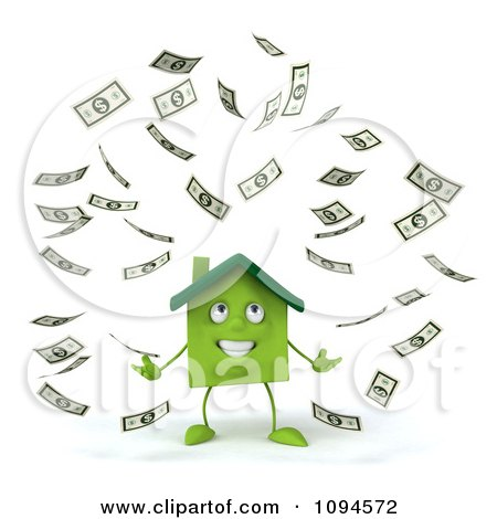 Clipart 3d Green Clay Home Surrounded By Cash 1 - Royalty Free CGI Illustration by Julos