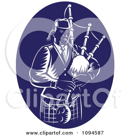 Clipart Retro Blue And White Bagpipe Player - Royalty Free Vector Illustration by patrimonio