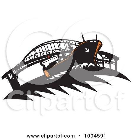 Clipart Freighter Ship Near A Bridge - Royalty Free Vector Illustration by patrimonio
