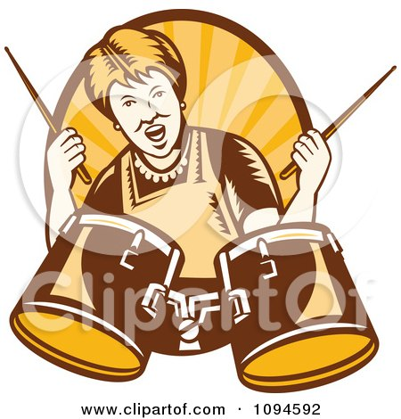 Clipart Retro Granny Rocking Out With Drums Over Rays - Royalty Free Vector Illustration by patrimonio