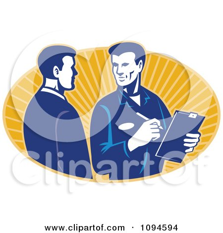 Clipart Retro Insurance Adjuster Speaking With A Client Over Orange Rays - Royalty Free Vector Illustration by patrimonio