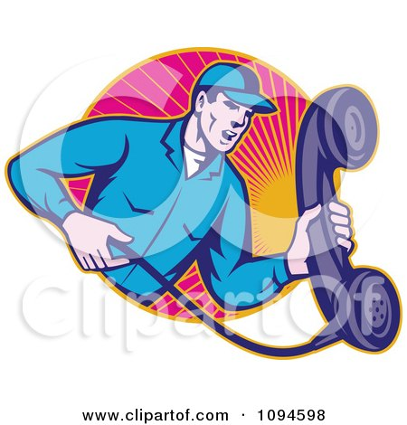 Clipart Retro Landline Repair Man Holding A Phone Over Rays - Royalty Free Vector Illustration by patrimonio