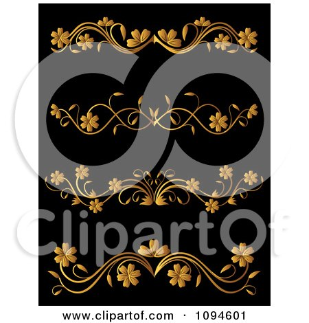 Clipart Golden Flourish Rule And Border Design Elements 7 - Royalty Free Vector Illustration by Vector Tradition SM