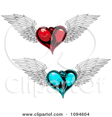 Clipart Bleeding Winged Heart Stabbed With A Dagger - Royalty Free ...