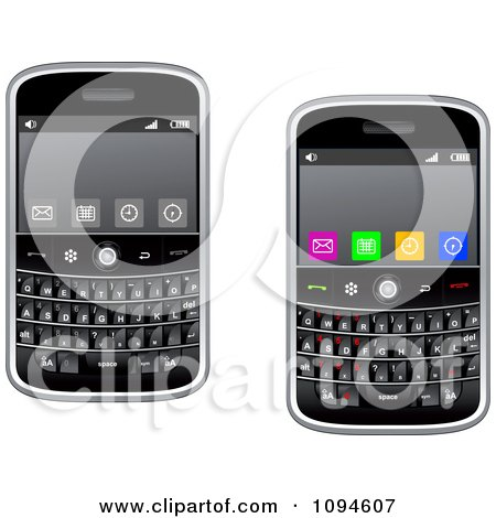Clipart Modern Cell Phones With Buttons On The Screens - Royalty Free Vector Illustration by Vector Tradition SM