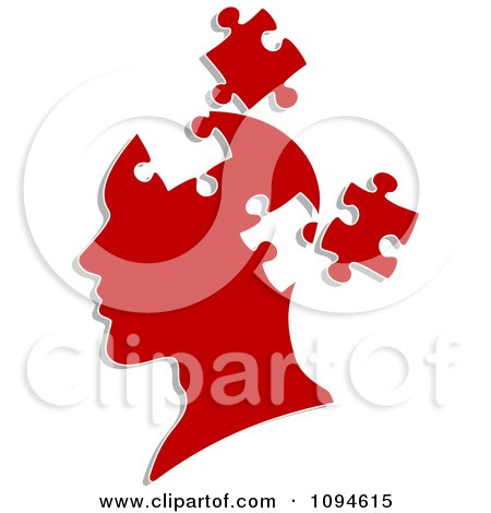 Clipart Red Head With Puzzle Pieces Removed - Royalty Free Vector Illustration by Vector Tradition SM