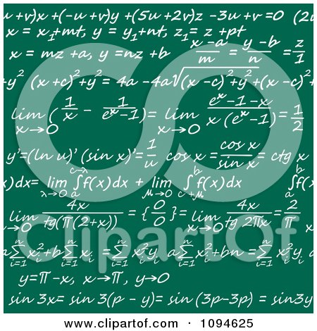 Clipart Seamless Math Formulas Written On A Chalkboard - Royalty Free Vector Illustration by Vector Tradition SM