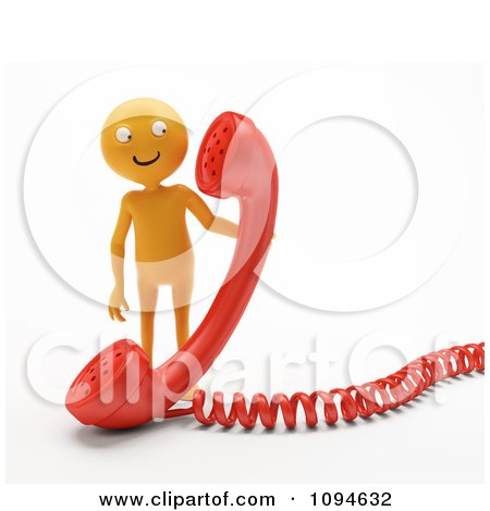 Clipart 3d Orange Man Holding A Red Phone Receiver - Royalty Free CGI Illustration by Mopic