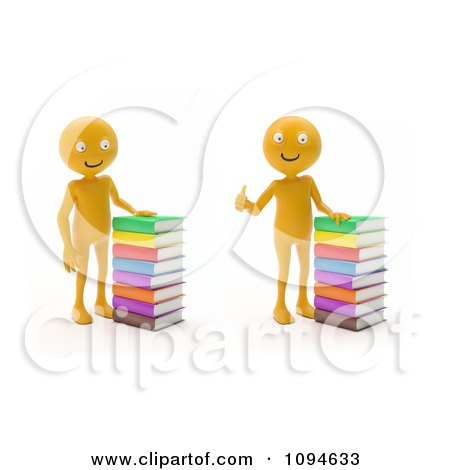 Clipart 3d Orange Men With Stacks Of Books - Royalty Free CGI Illustration by Mopic