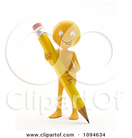 Clipart 3d Orange Man Holding A Pencil 2 - Royalty Free CGI Illustration by Mopic