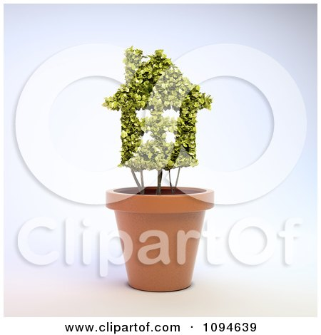 Clipart 3d House Shaped Plant In A Terra Cotta Pot - Royalty Free CGI Illustration by Mopic