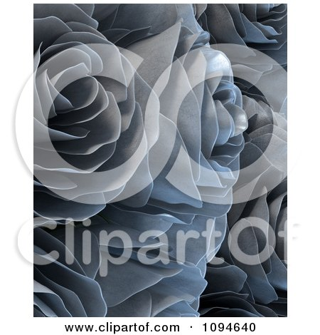 Clipart 3d Silver Metal Roses - Royalty Free CGI Illustration by Mopic