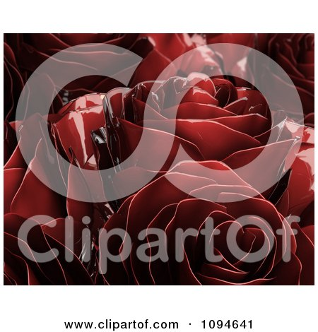 Clipart 3d Red Metal Roses - Royalty Free CGI Illustration by Mopic