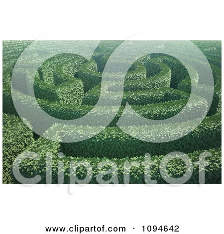 Clipart 3d Hedges Forming A Labyrinth In A Garden - Royalty Free CGI Illustration by Mopic