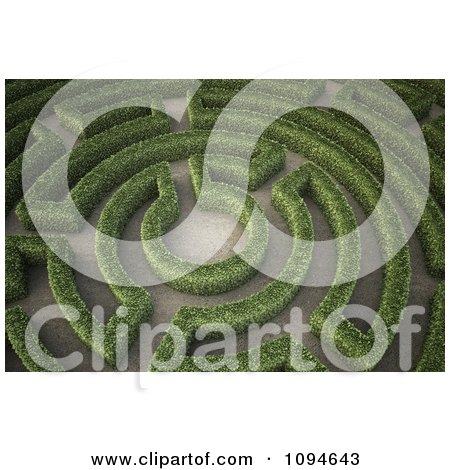 Clipart 3d Hedges Forming A Maze In A Garden - Royalty Free CGI Illustration by Mopic