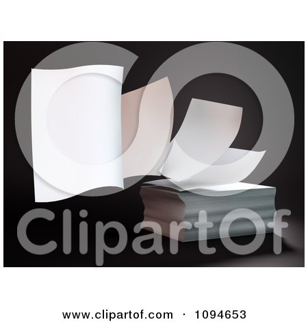 Clipart 3d Pages Floating Off Of A Stack - Royalty Free CGI Illustration by Mopic