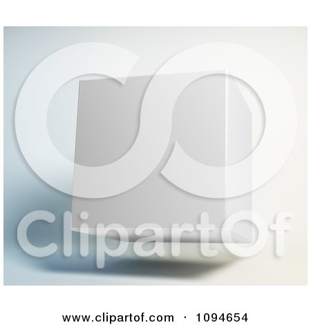 Clipart 3d White Cube Floating - Royalty Free CGI Illustration by Mopic