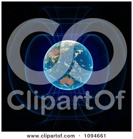 Clipart Blue Light Glowing To Show Earths Magnetic Field - Royalty Free CGI Illustration by Mopic