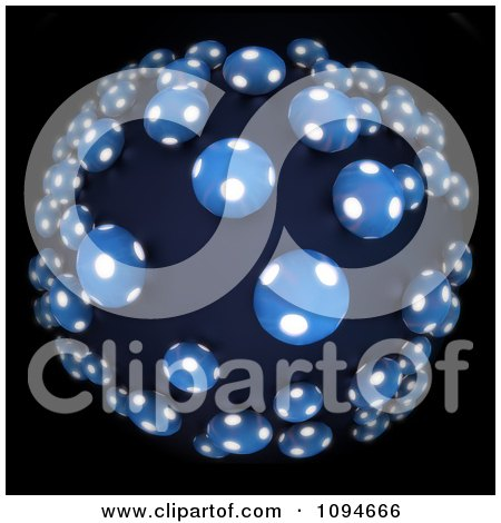 Clipart 3d Glowing Blobs In A Fisheye Perspective - Royalty Free CGI Illustration by Mopic