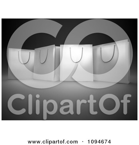 Clipart 3d White Shopping Bags On Black And Gray - Royalty Free CGI Illustration by Mopic
