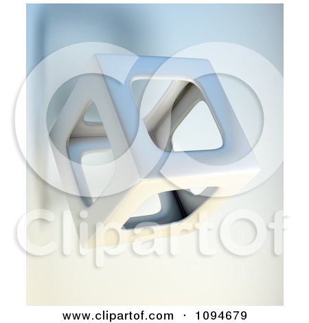 Clipart 3d Hollow Cube Floating - Royalty Free CGI Illustration by Mopic