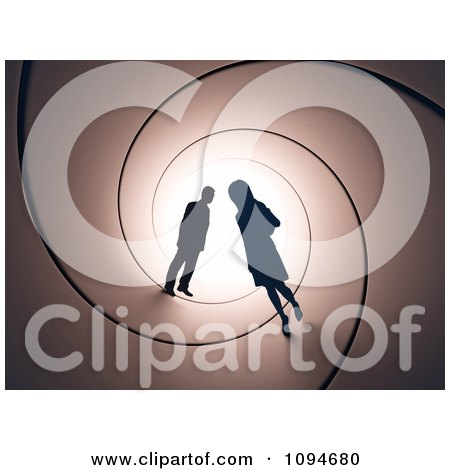 Clipart Silhouetted Couple In A Tunnel - Royalty Free CGI Illustration by Mopic