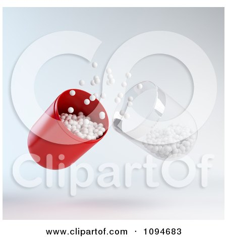 Clipart 3d Red And Transparent Pill Capsule With White Pieces Of Medicine - Royalty Free CGI Illustration by Mopic
