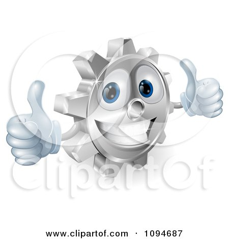 Clipart 3d Smiling Gear Cog Holding Two Thumbs Up - Royalty Free Vector Illustration by AtStockIllustration