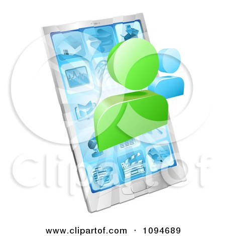 Clipart Social Networking Avatars Over A 3d Cell Phone - Royalty Free Vector Illustration by AtStockIllustration