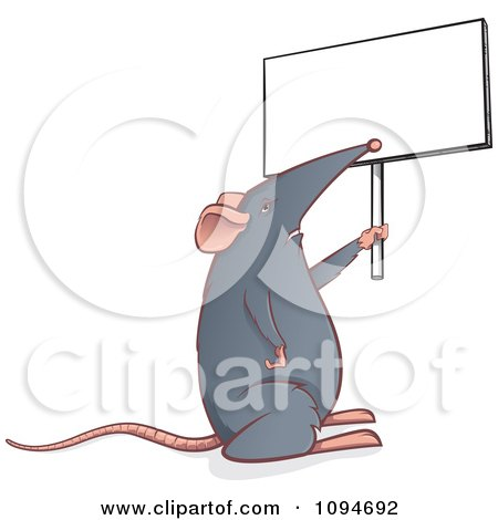 Clipart Gray Mouse Holding Up A Sign - Royalty Free Vector Illustration by Paulo Resende