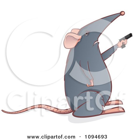 Clipart Gray Mouse Holding A Gun - Royalty Free Vector Illustration by Paulo Resende