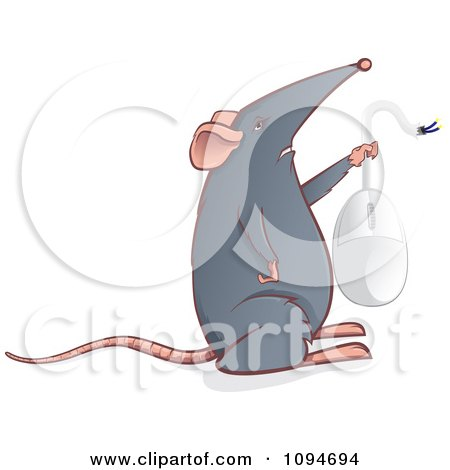 Clipart Gray Mouse Holding Up A Computer Mouse - Royalty Free Vector Illustration by Paulo Resende