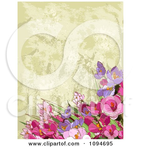 Clipart Background Of Pink And Purple Flowers Over Tan Texture - Royalty Free Vector Illustration by Pushkin