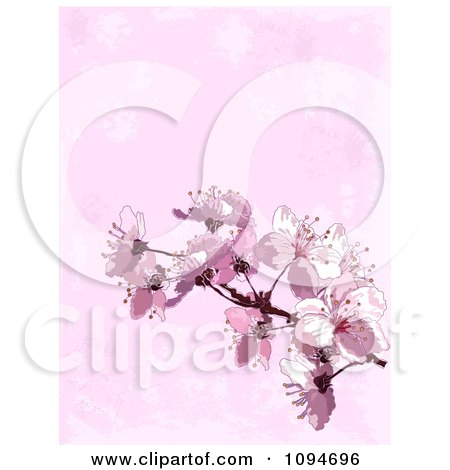 Clipart Background Of Pink Spring Blossoms Over Texture - Royalty Free Vector Illustration by Pushkin