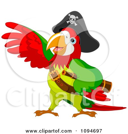 Clipart Parrot Pirate Lifting A Wing - Royalty Free Vector Illustration by Pushkin