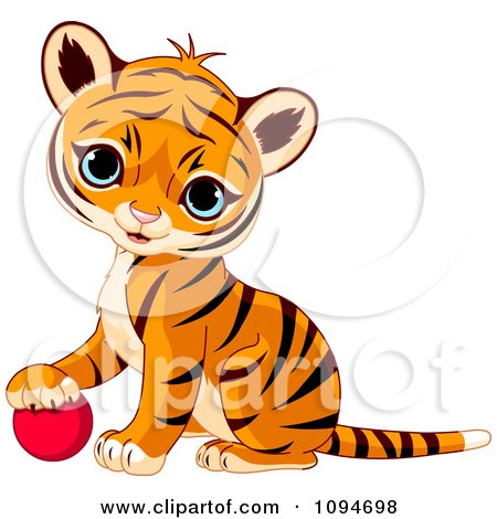 Clipart Cute Baby Tiger Cub Resting His Paw On A Ball - Royalty Free Vector Illustration by Pushkin