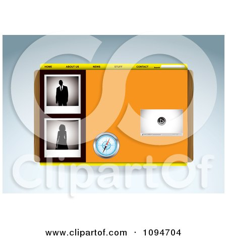 Clipart Orange Media Player Compass And People Website Template Design - Royalty Free Vector Illustration by michaeltravers